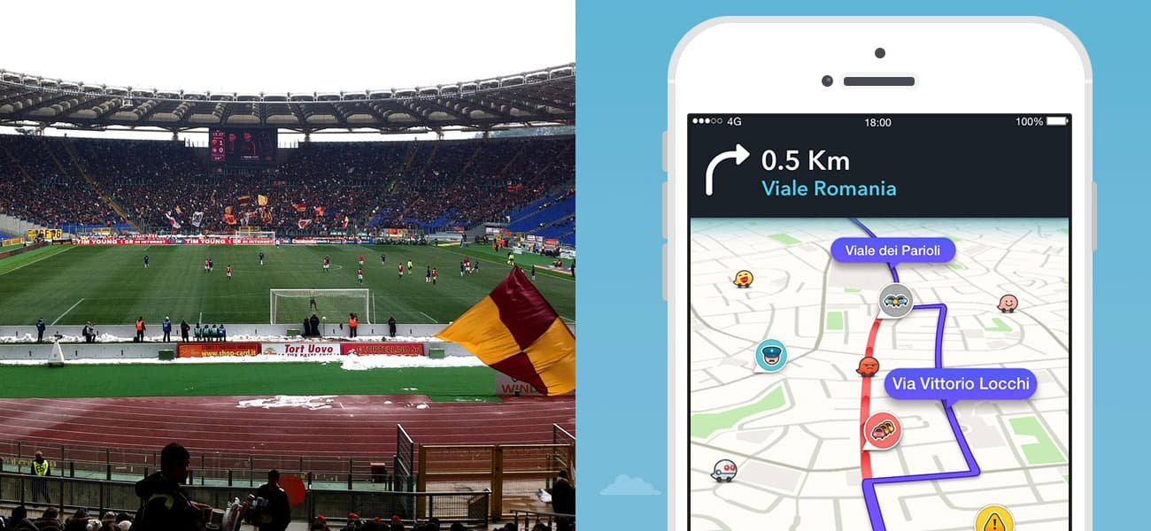 roma players to direct fans on waze app the stadium business. Black Bedroom Furniture Sets. Home Design Ideas